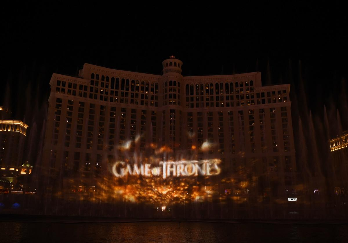 A view of The Fountains of Bellagio during HBO, MGM Resorts and WET Design debut of the exclusive Game of Thrones production, running twice nightly at 8 and 9:30 p.m. through April 13 at the Bellagio Hotel and Casino on March 31, 2019 in Las Vegas, Nevada