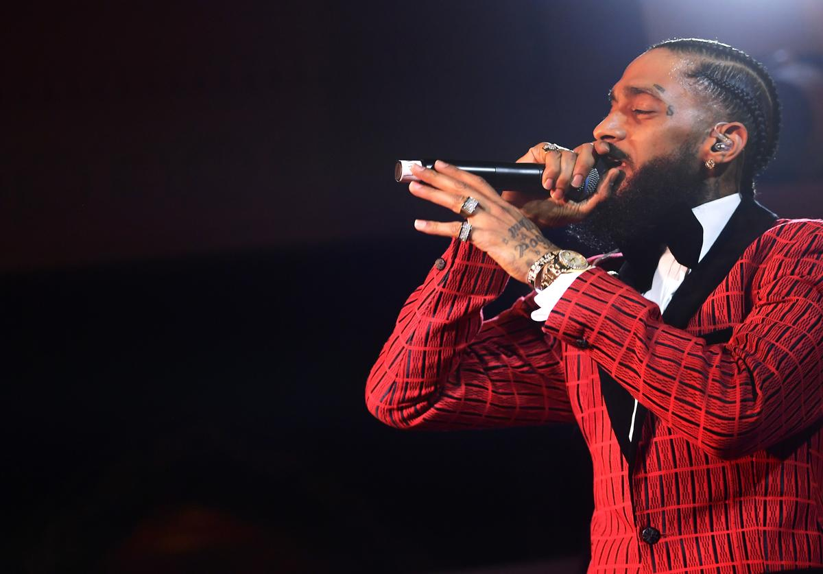 Nipsey Hussle performs onstage at the Warner Music Pre-Grammy Party at the NoMad Hotel on February 7, 2019 in Los Angeles, California