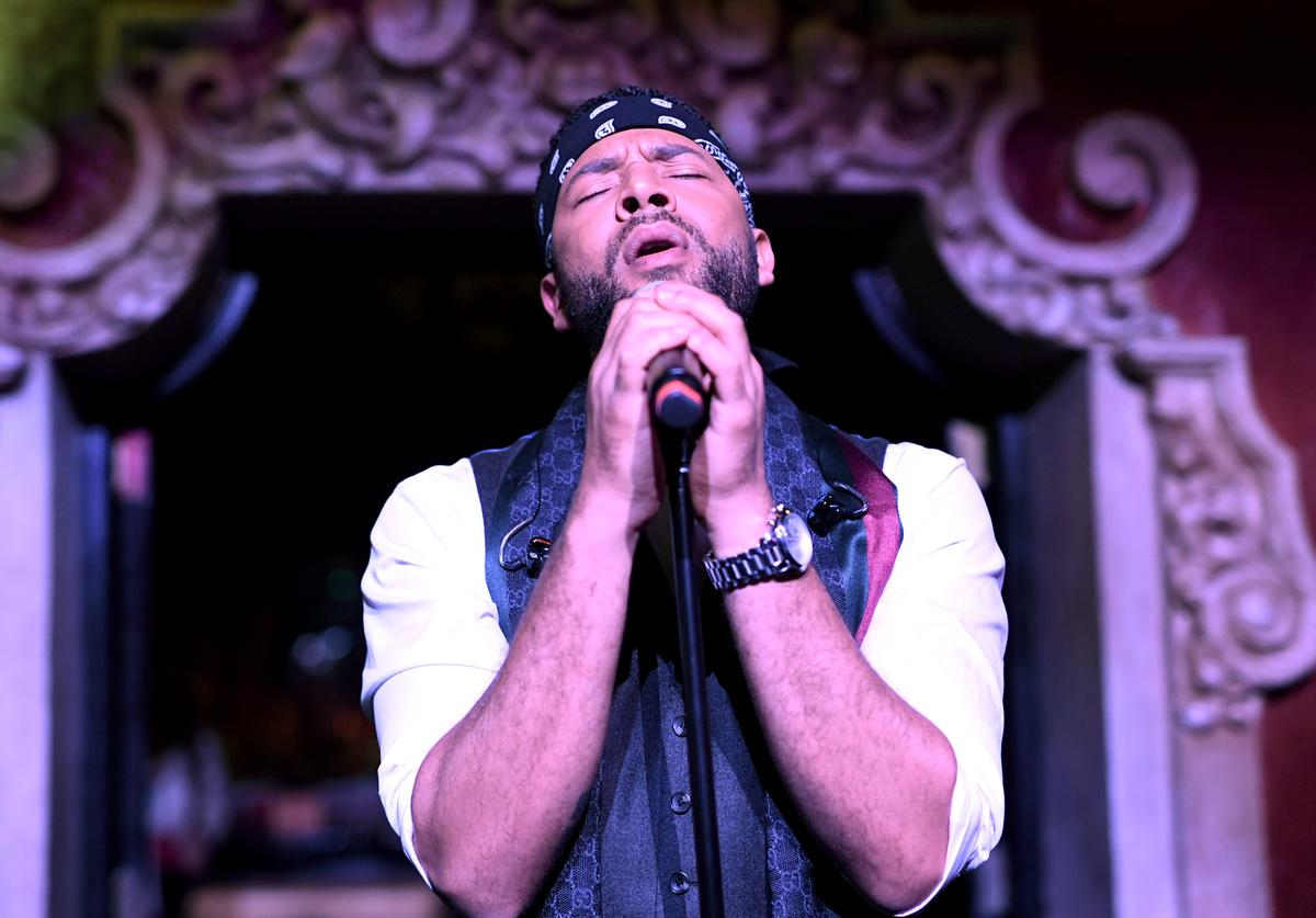 Jussie Smollett performs onstage during amfAR Dance2Cure at Bardot on December 1, 2018 in Hollywood, California