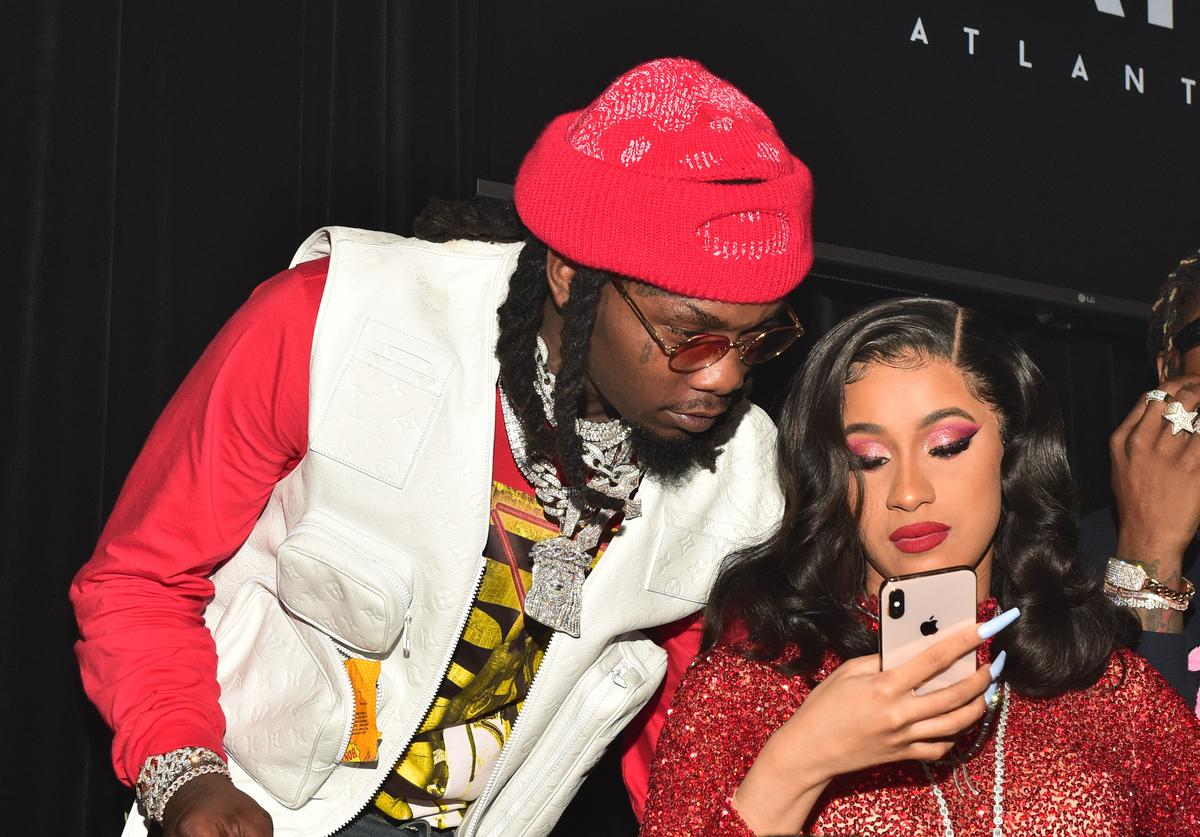 Offset and Cardi B attend Offset's 'Father of 4' album release party at Oak Atlanta on February 22, 2019 in Atlanta, Georgia