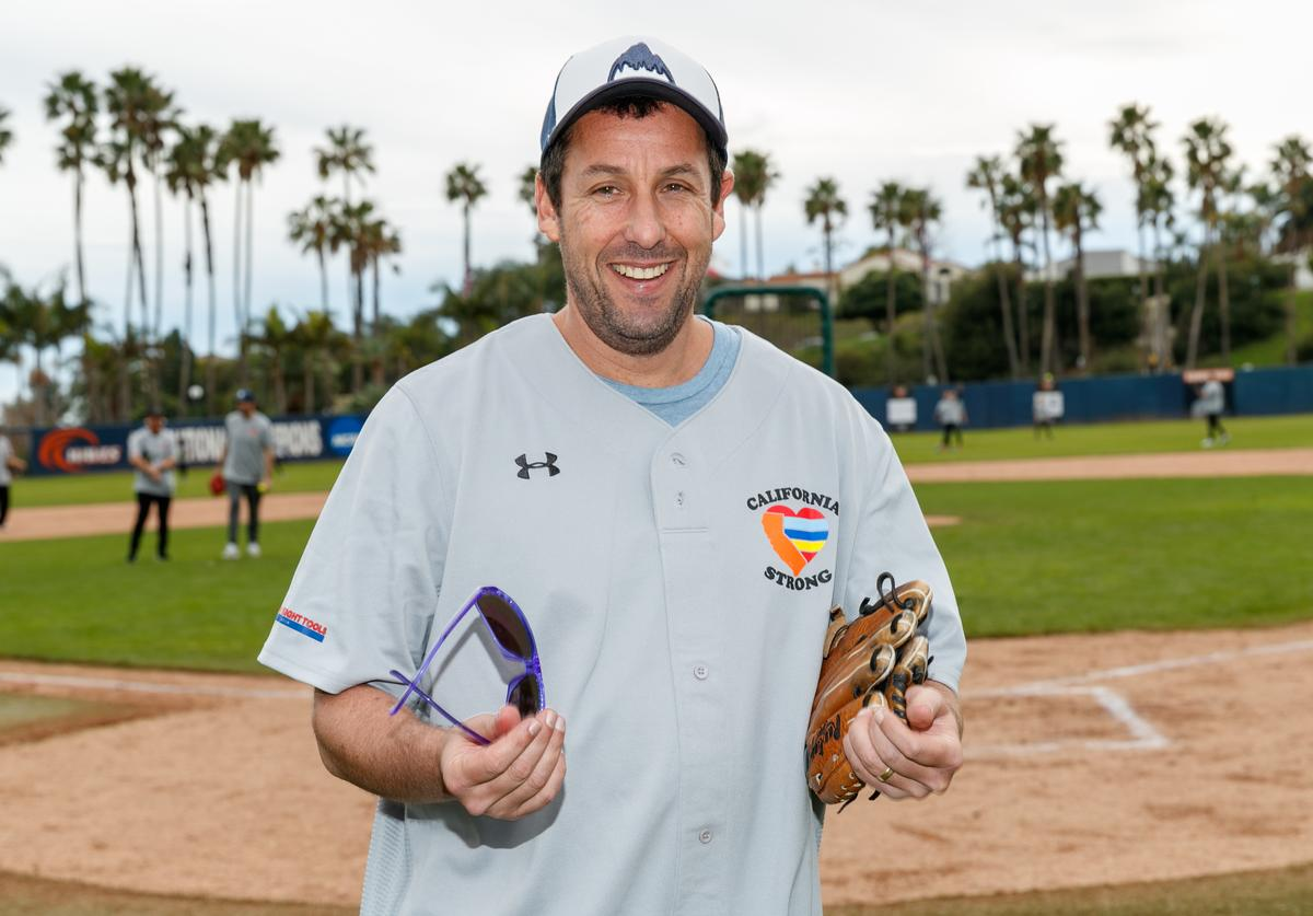 Adam Sandler plays in a charity softball game to benefit 'California Strong' at Pepperdine University on January 13, 2019 in Malibu, California