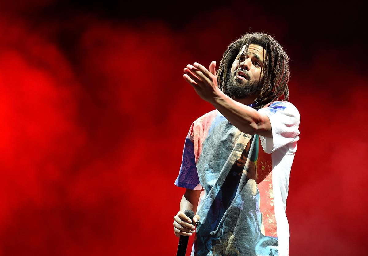 J. Cole headlines the Main Stage on Day 1 of Wireless Festival 2018 at Finsbury Park on July 6, 2018 in London, England.