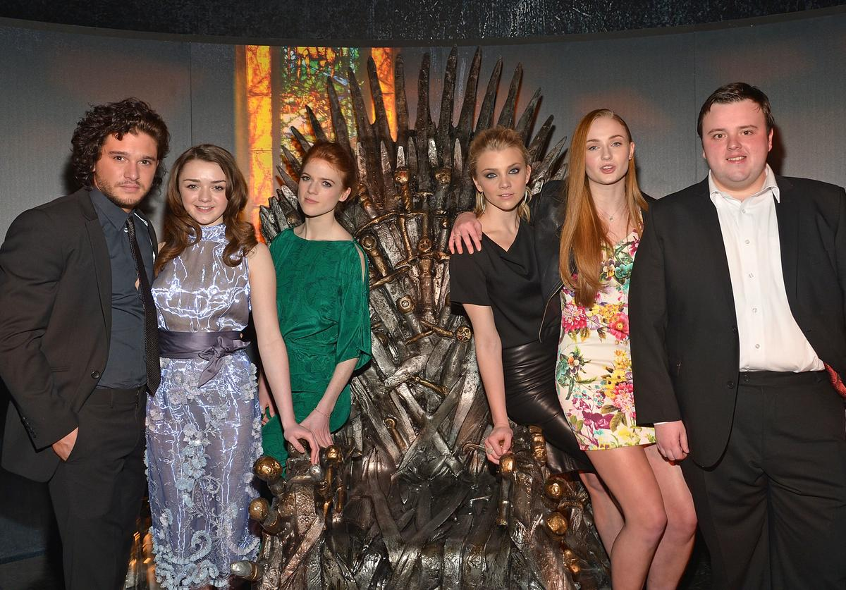 Actors Kit Harington, Maisie Williams, Rose Leslie, Natalie Dormer, Sophie Turner, and John Bradley attend 'Game Of Thrones' The Exhibition New York Opening at 3 West 57th Avenue on March 27, 2013 in New York City.