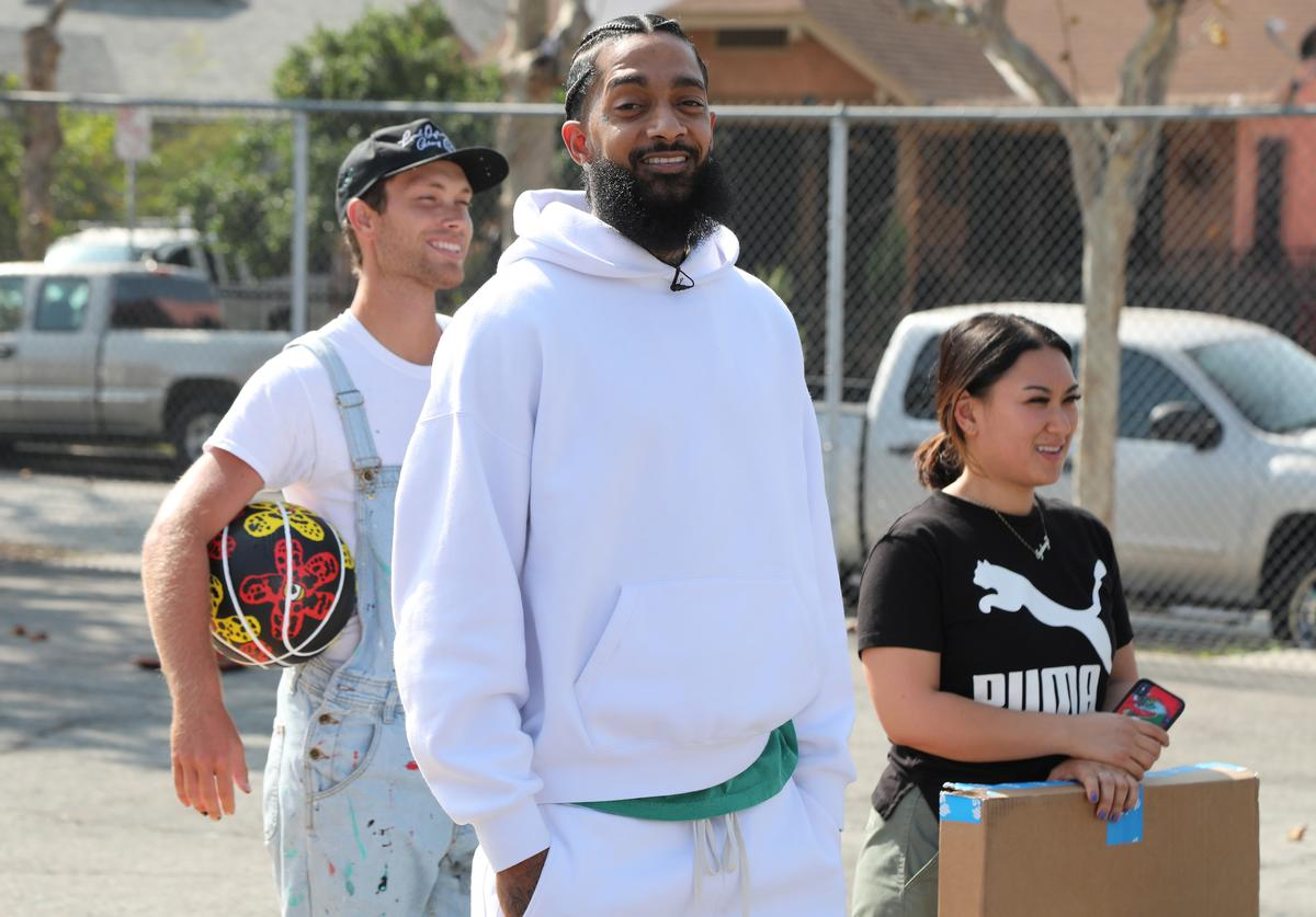 Nipsey Hussle attends Nipsey Hussle x PUMA Hoops Basketball Court Refurbishment Reveal Event on October 22, 2018 in Los Angeles, California.