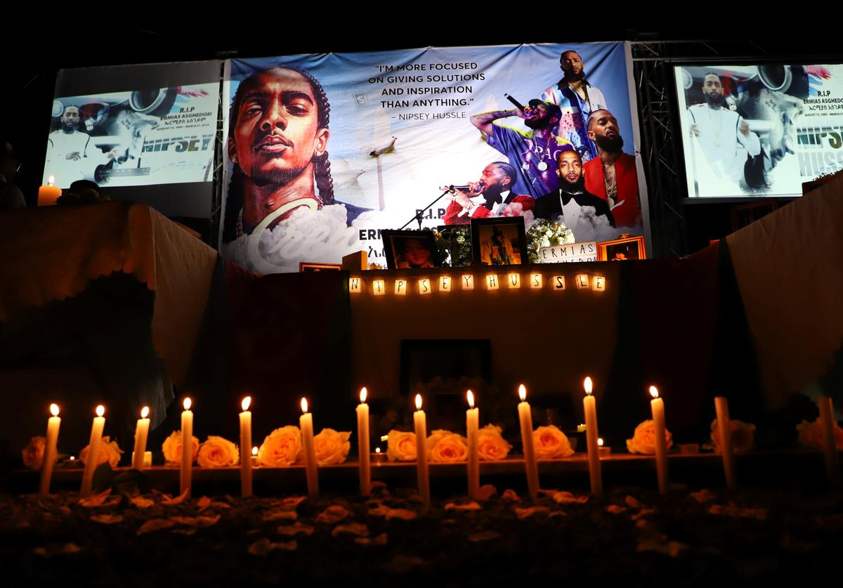 Dozens of Ethiopian and Eritrean living in Addis Ababa gather for the memorial service to honor Eritrean American rapper, Nipsey Hussle, on April 6, 2019 in Addis Ababa