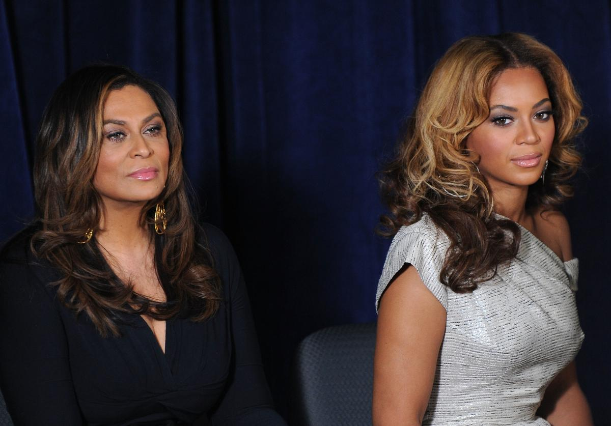 Tina Knowles (L) and Beyonce Knowles attend the unveiling of the Beyoncé Cosmetology Center on March 5, 2010 in New York City