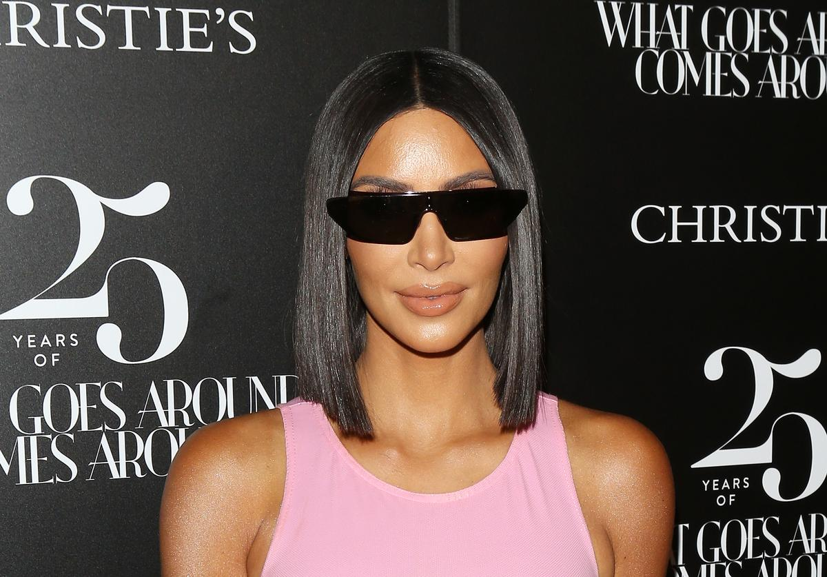 Kim Kardashian attends the What Goes Around Comes Around - 25th Anniversary Auction Beverly Hills preview held on August 21, 2018 in Beverly Hills, California