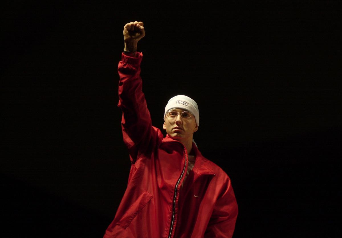 Eminem enters the summit. during The Detroit Hip Hop Summit at Cobo Arena in Detroit, Michigan, United States