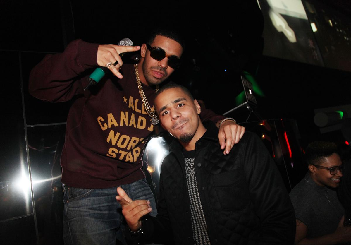 Rapper's Drake and J. Cole attend First Down Friday at Sensu on February 3, 2012 in Indianapolis, Indiana.
