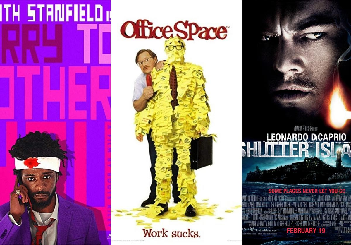 """Movie posters for """"Sorry to Bother You,"""" """"Office Space"""" and """"Shutter Island"""""""