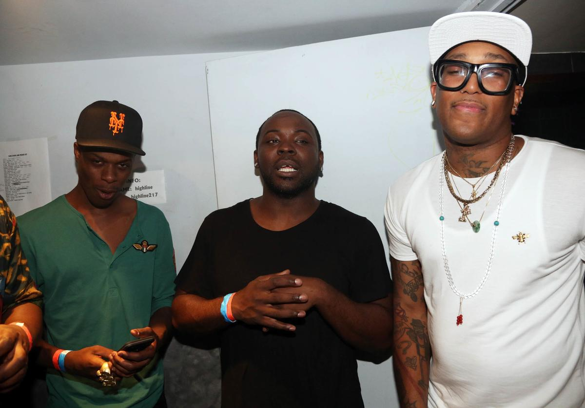 Loyal Duce, Taxstone, and Fame School Tell attend Highline Ballroom on August 11, 2015, in New York City.