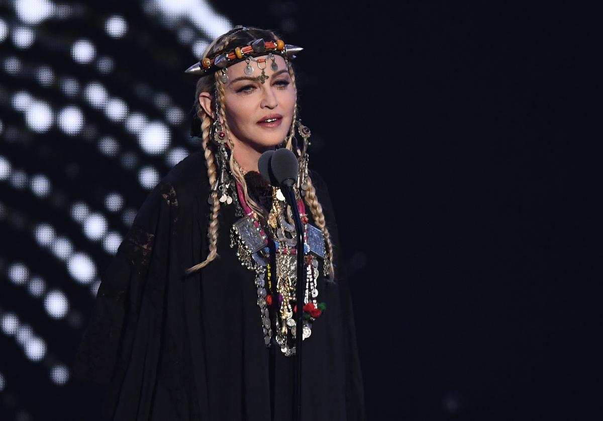 Madonna speaks onstage during the 2018 MTV Video Music Awards at Radio City Music Hall on August 20, 2018 in New York City