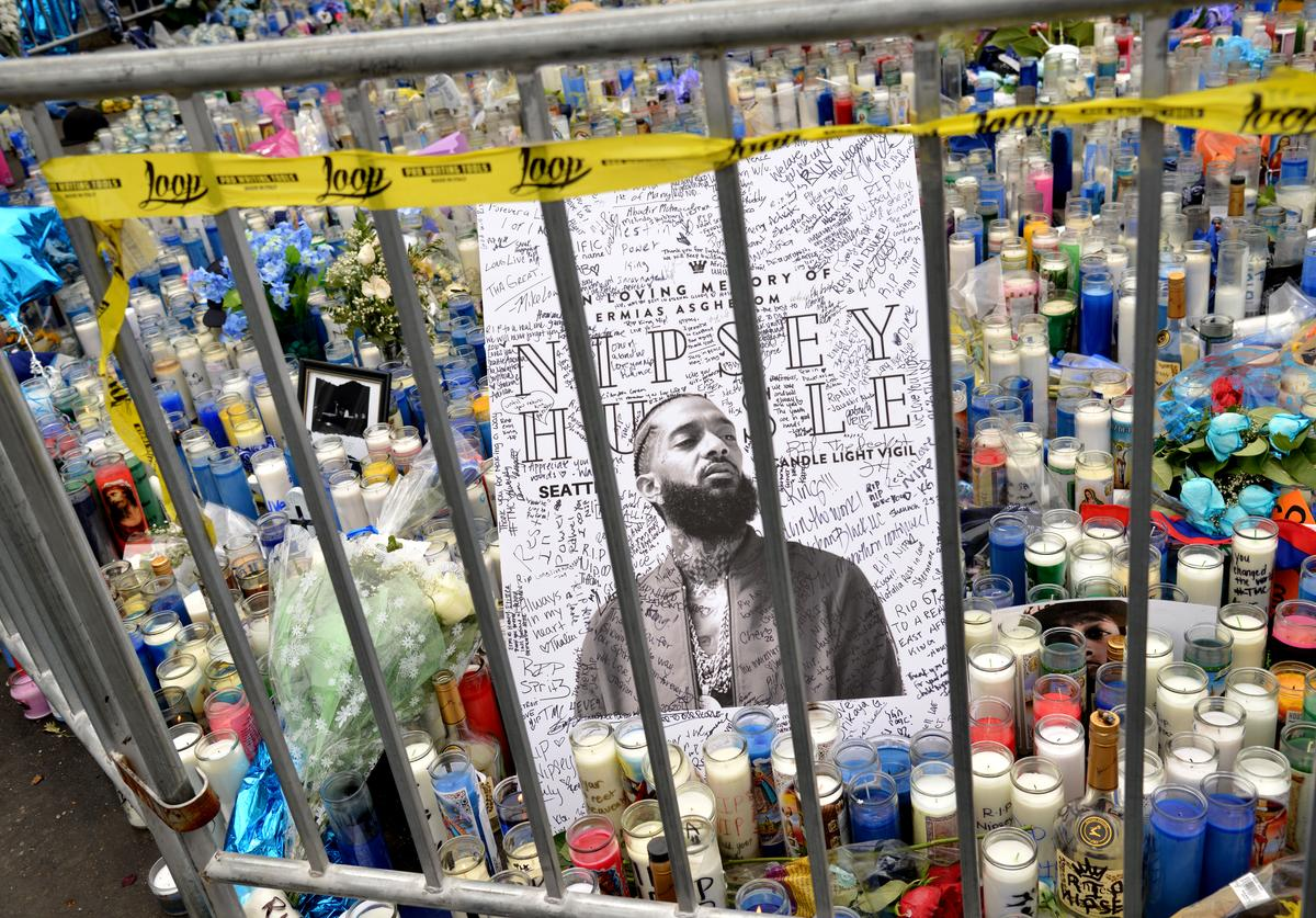 A view of a memorial at The Marathon Clothing Store during Nipsey Hussle's Celebration of Life and Funeral Procession on April 11, 2019 in Los Angeles, California