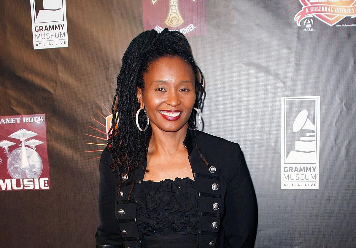 Rapper Dee Barnes arrives at the Luxury Book Launch of 'Hip-Hop: A Cultural Odyssey' and the exhibit premiere at The GRAMMY Museum on February 8, 2011 in Los Angeles, California.