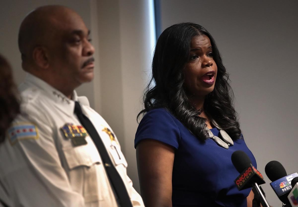 Joined by Chicago Police Superintendent Eddie Johnson, Cook County State's Attorney Kim Foxx announces that charges have been filed against singer R. Kelly on February 22, 2019 in Chicago, Illinois. Kelly has been charged with 10 counts of aggravated sexual abuse of four victims, at least three between the ages of 13 and 17.
