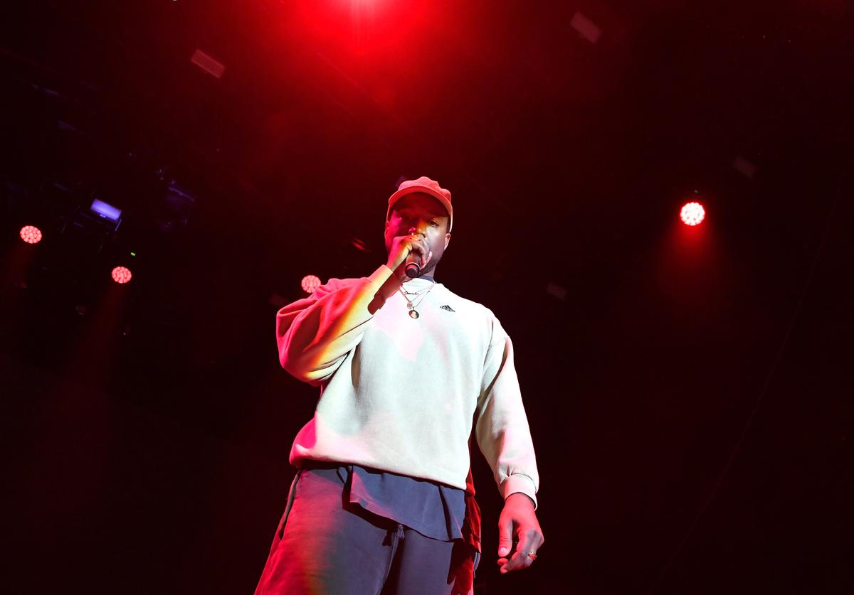 Kanye West onstage at adidas Creates 747 Warehouse St. - an event in basketball culture on February 17, 2018 in Los Angeles, California.