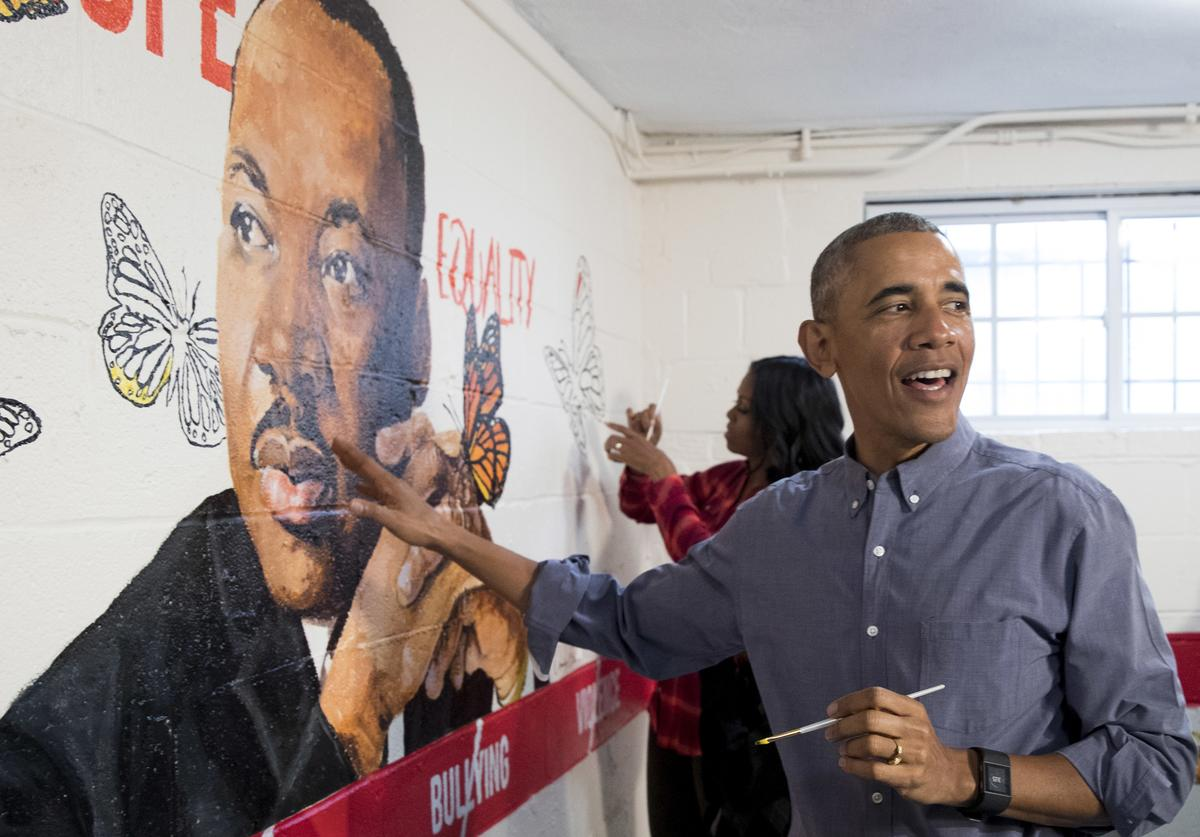 Barack Obama participates in Martin Luther King Jr. service day.