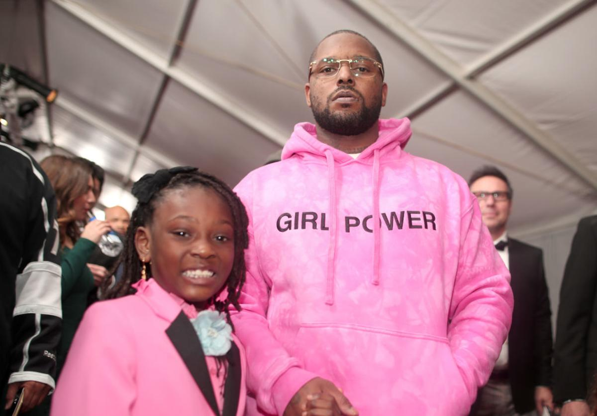 Schoolboy Q and daughter Joy Hanley attend The 59th GRAMMY Awards at STAPLES Center on February 12, 2017 in Los Angeles, California.