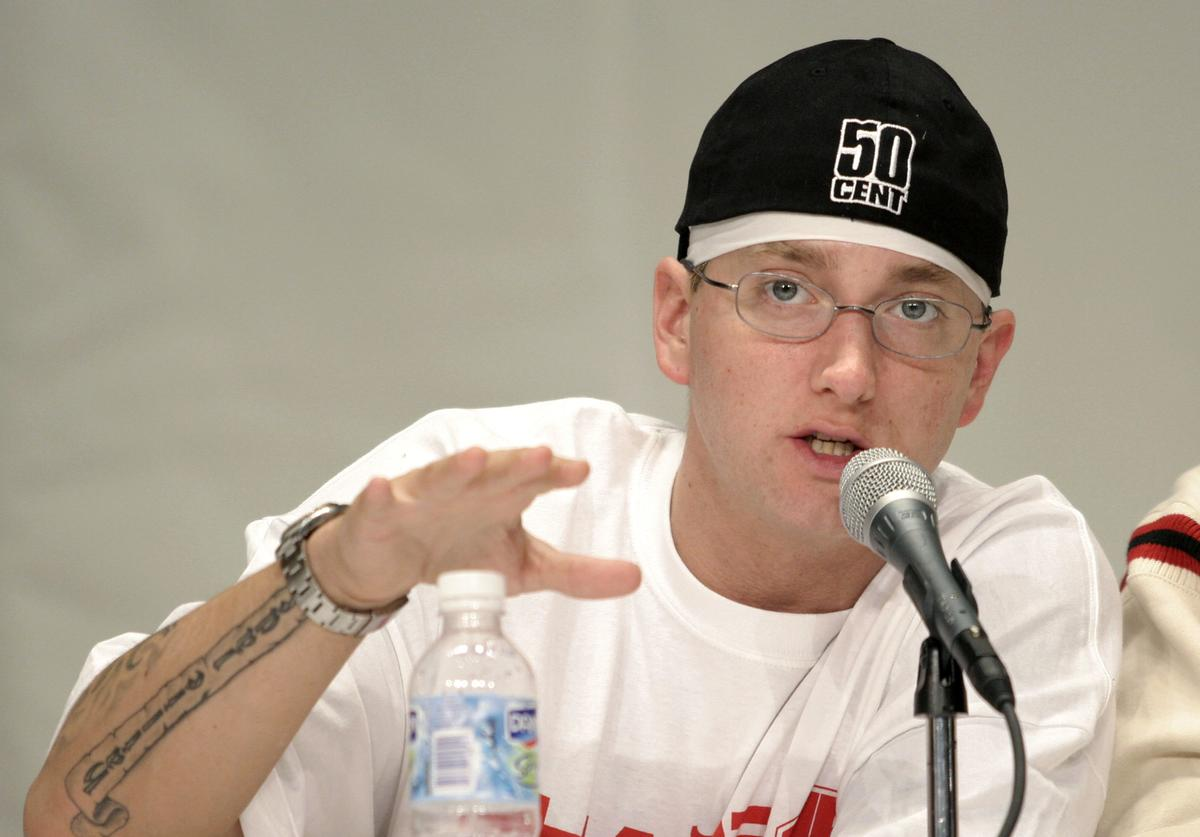 Eminem speaks about his financial past and present at the 1st Financial Hip Hop Summit May 14, 2005 in Detroit, Michigan.