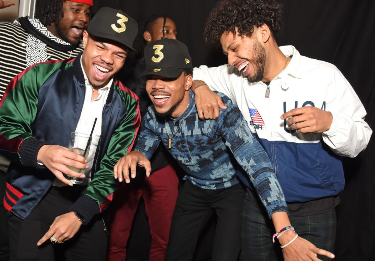 (L-R) Rapper Taylor Bennett, Chance the Rapper, and guest attend GQ and Chance The Rapper Celebrate the Grammys in Partnership with YouTube at Chateau Marmont on February 12, 2017 in Los Angeles, California.