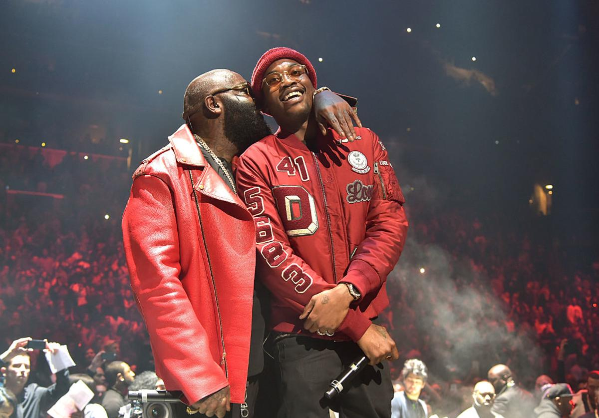 Rick Ross (L) and Meek Mill perform onstage during TIDAL X: 1020 Amplified by HTC at Barclays Center of Brooklyn on October 20, 2015 in New York City.