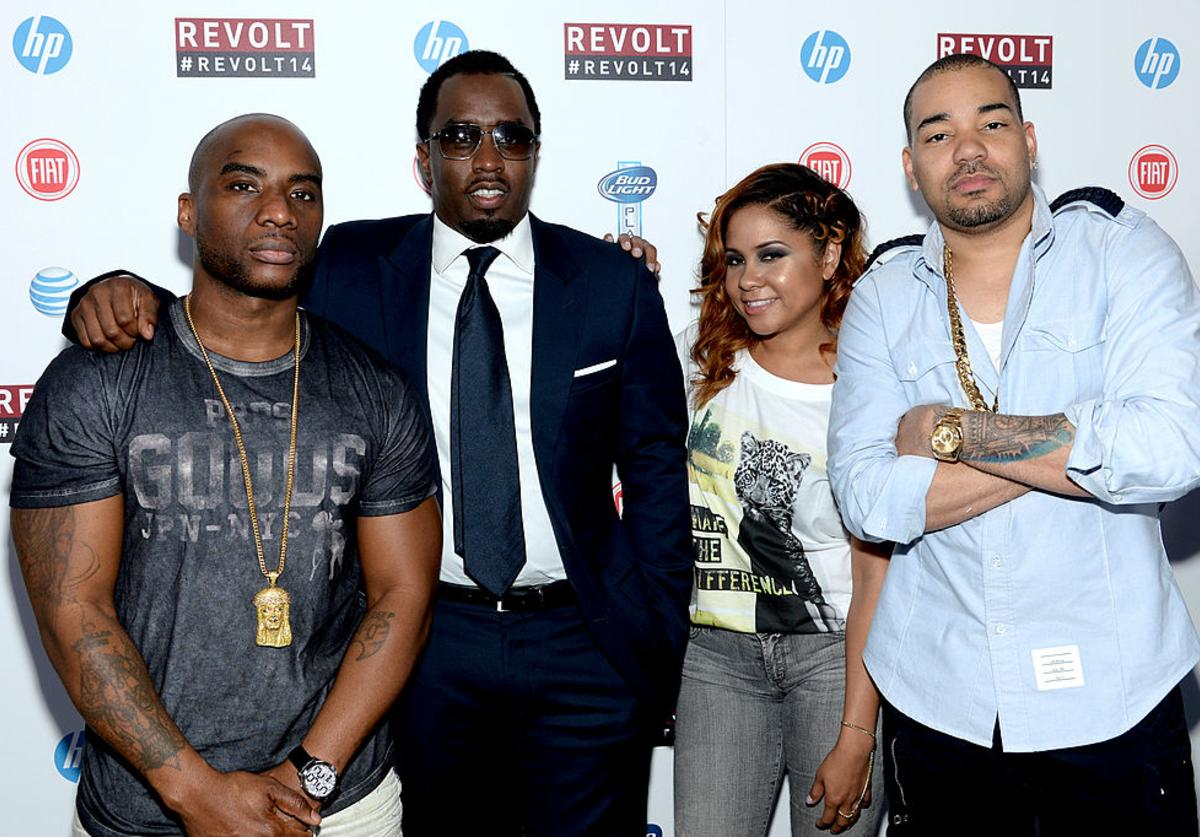 Lenard McKelvey 'Charlamagne Tha God', Sean 'Diddy' Combs, Angela Yee and DJ Envy attend the REVOLT TV First Annual Upfront presentation at Marquee on April 22, 2014 in New York City.