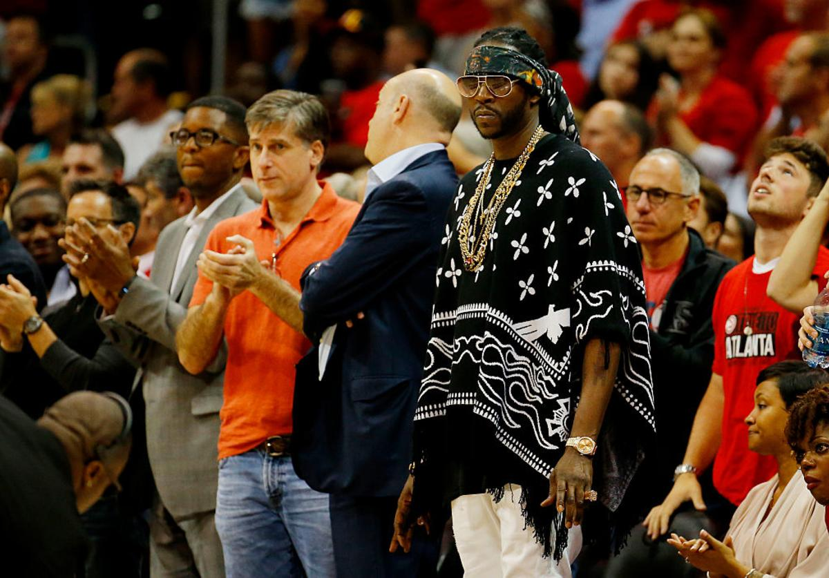 2 Chainz attends Game One of the Eastern Conference Finals of the 2015 NBA Playoffs between the Atlanta Hawks and the Cleveland Cavaliers at Philips Arena on May 20, 2015 in Atlanta, Georgia.