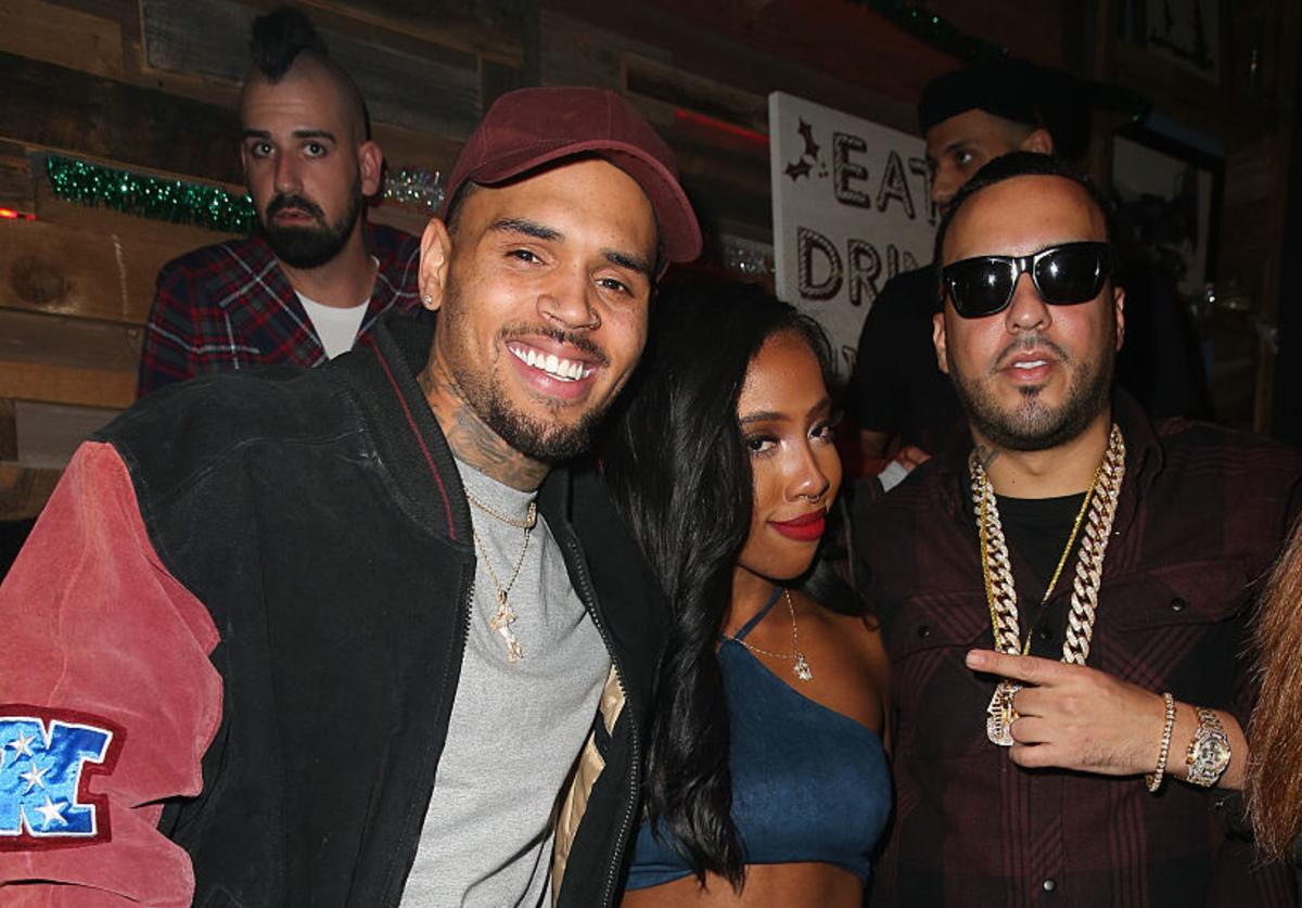 (L-R) Recording artist Chris Brown, singer Sevyn Streeter, and rapper French Montana attend a listening party for Chris Brown's latest album, 'Royalty' at HYDE Sunset: Kitchen + Cocktails on December 15, 2015 in West Hollywood, California.