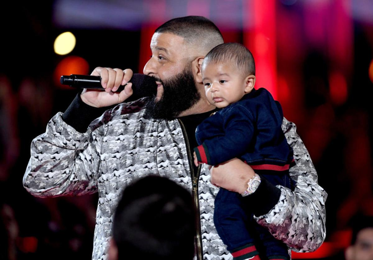 DJ Khaled (L) speaks onstage with Asahd Tuck Khaled at the 2017 iHeartRadio Music Awards which broadcast live on Turner's TBS, TNT, and truTV at The Forum on March 5, 2017 in Inglewood, California.