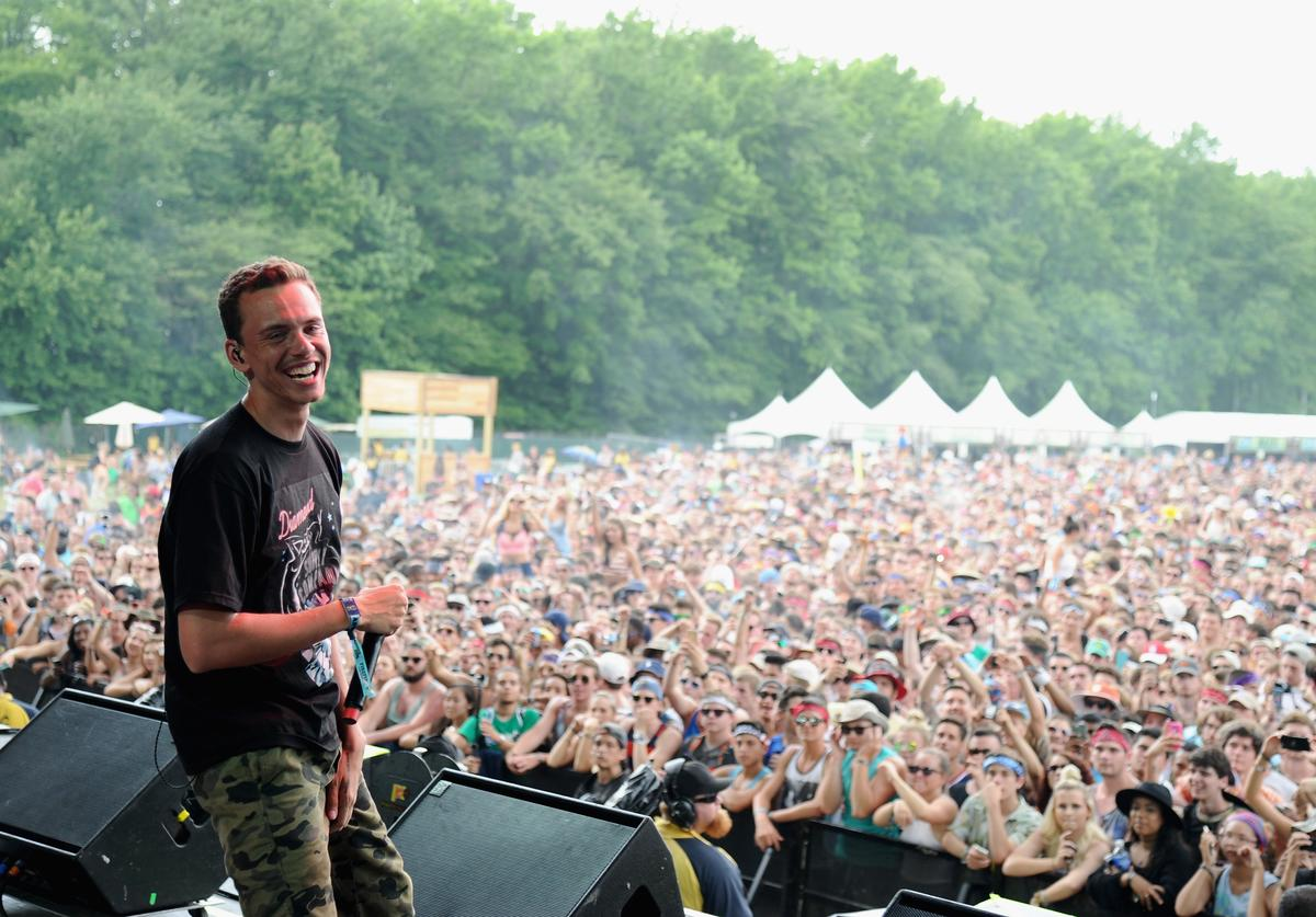 Logic performs onstage during day 2 of the Firefly Music Festival