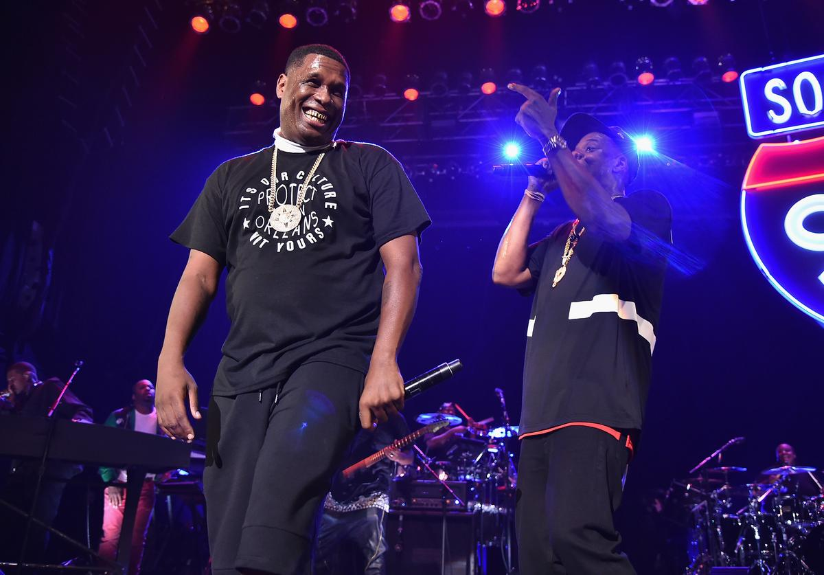 Jay Electronica (L) and Jay-Z perform during TIDAL X