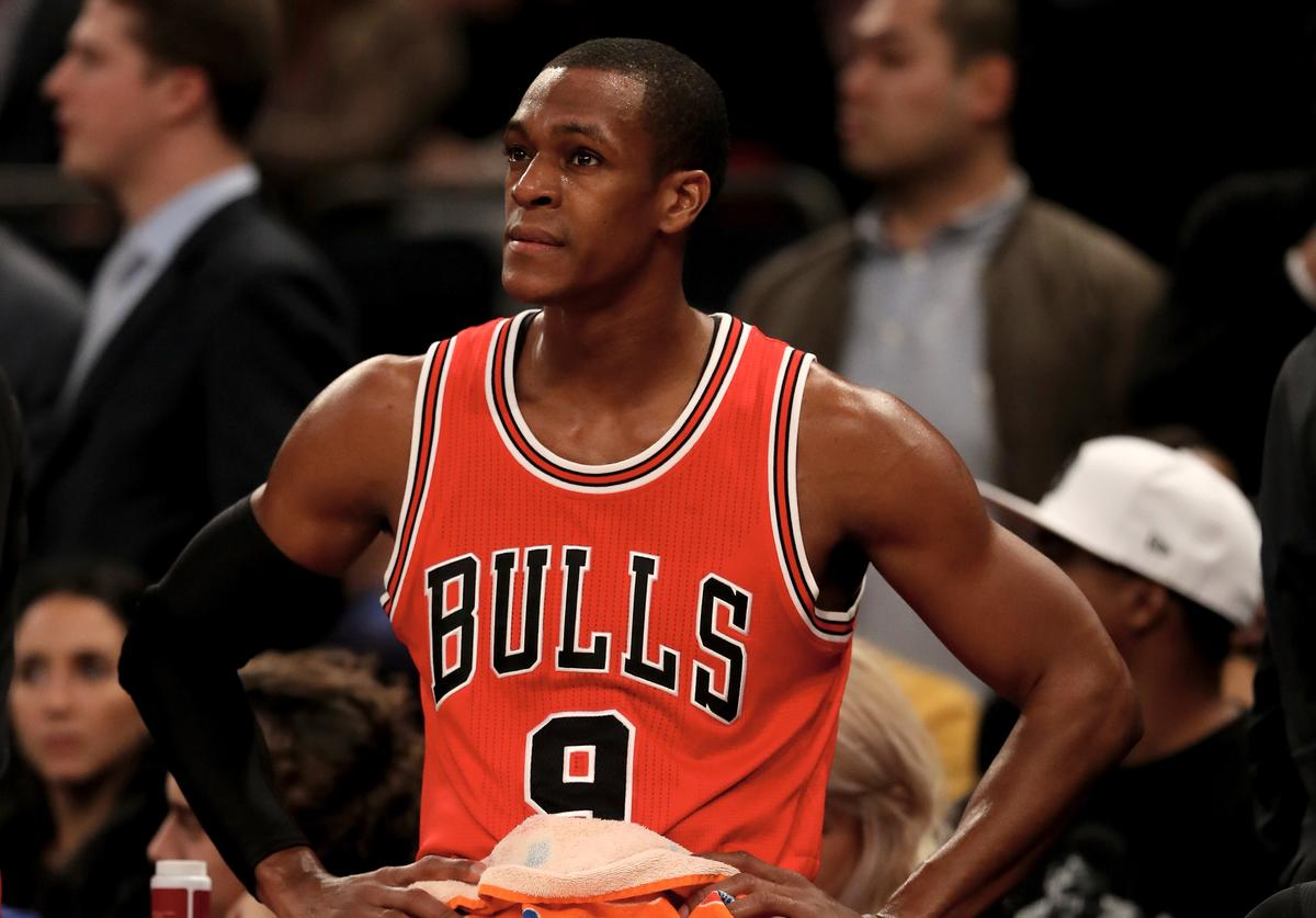 Rajon Rondo #9 of the Chicago Bulls looks on during a time out in the fourth quarter against the New York Knicks at Madison Square Garden