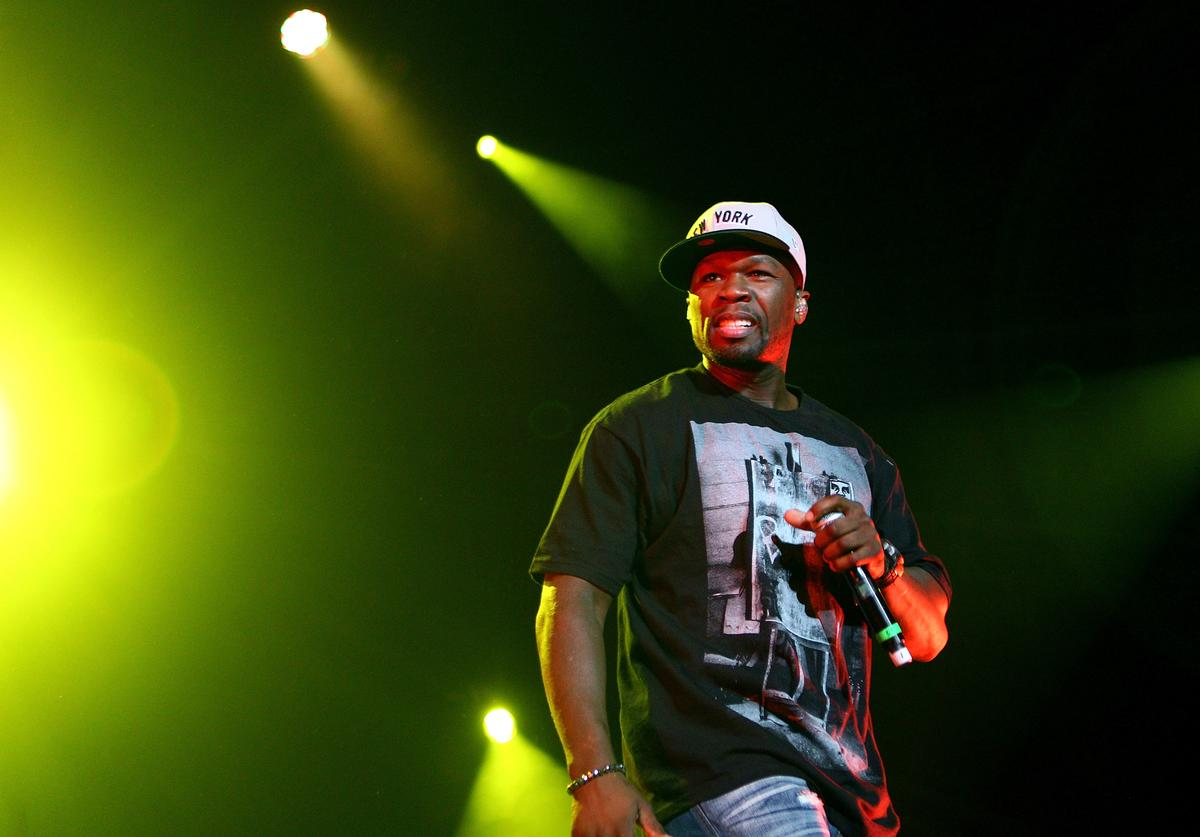 50 Cent performs on stage during the Winterbeatz Music Festival
