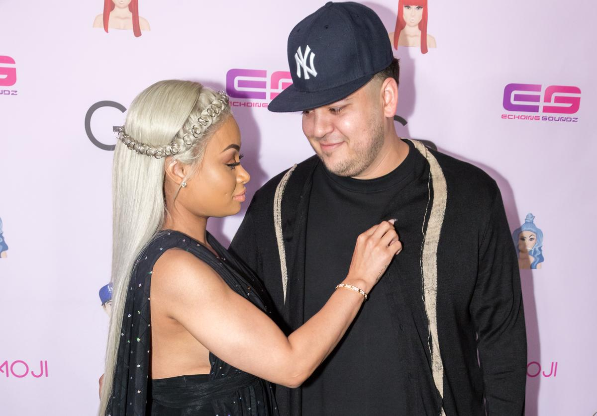 Rob Kardashian and Blac Chyna arrive at her Blac Chyna Birthday Celebration And Unveiling Of Her 'Chymoji' Emoji Collection at the Hard Rock Cafe on May 10, 2016 in Hollywood, California.