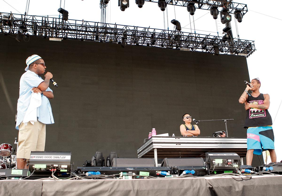 Rapper Evan 'Chuck Inglish' Ingersoll, PJ the DJ, and Antoine 'Mickey Rocks' Reed of The Cool Kids perform during day 3 of the Coachella Valley Music And Arts Festival held at the Empire Polo Field on April 27, 2008 in Indio, California