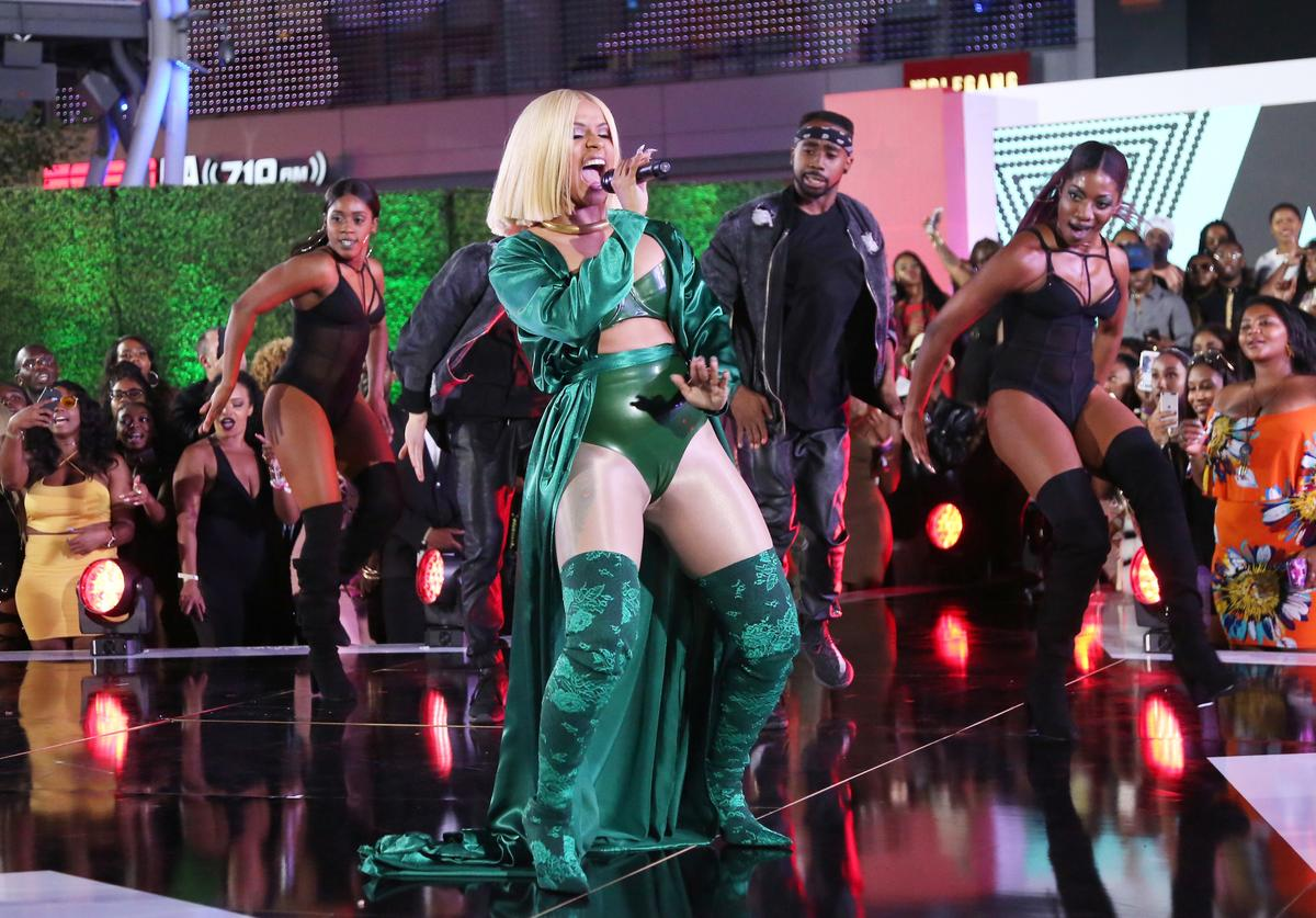 Cardi B (C) at the Post Show for the 2017 BET Awards on June 25, 2017 in Los Angeles, California.