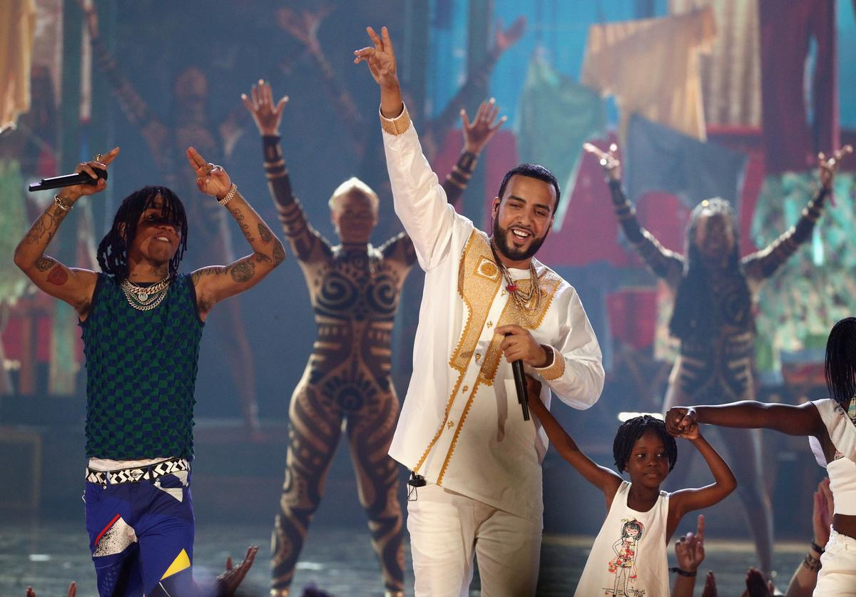 Swae Lee of Rae Sremmurd (L) and French Montana perform onstage at 2017 BET Awards at Microsoft Theater on June 25, 2017 in Los Angeles, California.