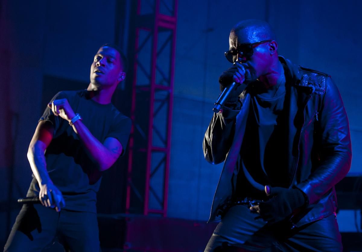 Kid Cudi and Kanye West perform during VEVO Presents: G.O.O.D. Music at VEVO Power Station on March 19, 2011 in Austin, Texas.