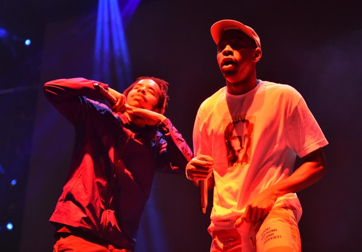 Tyler, The Creator (R) performs with Earl Sweatshirt on Camp Stage during day two of Tyler, the Creator's 5th Annual Camp Flog Gnaw Carnival at Exposition Park on November 13, 2016 in Los Angeles, California.