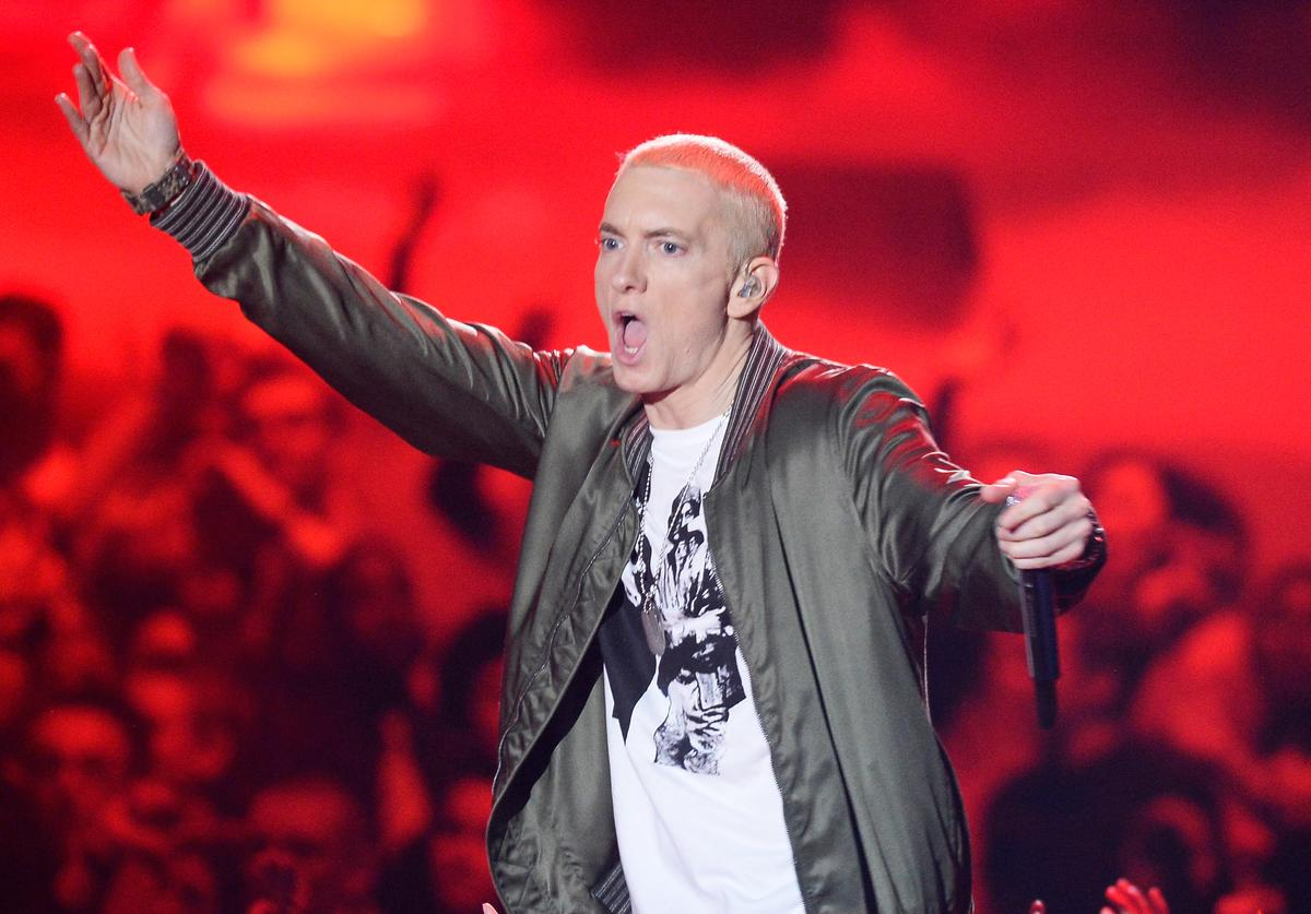 Recording artist Eminem performs onstage at the 2014 MTV Movie Awards at Nokia Theatre L.A. Live on April 13, 2014 in Los Angeles, California