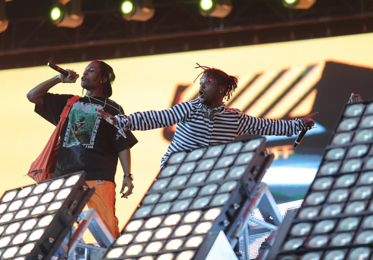 ASAP Rocky and Lil Uzi Vert perform on the Coachella Stage during day 3 of the 2017 Coachella Valley Music & Arts Festival (Weekend 2) at the Empire Polo Club on April 22, 2017 in Indio, California