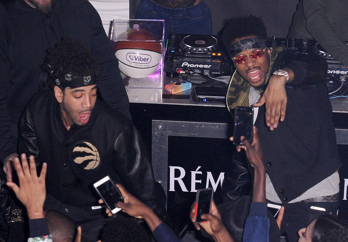 Metro Boomin and DJ Esco on stage at the Viber, leading mobile messaging app and YesJulz NBA All Star Game Party at La Vie Nightclub on February 12, 2016 in Toronto, Canada