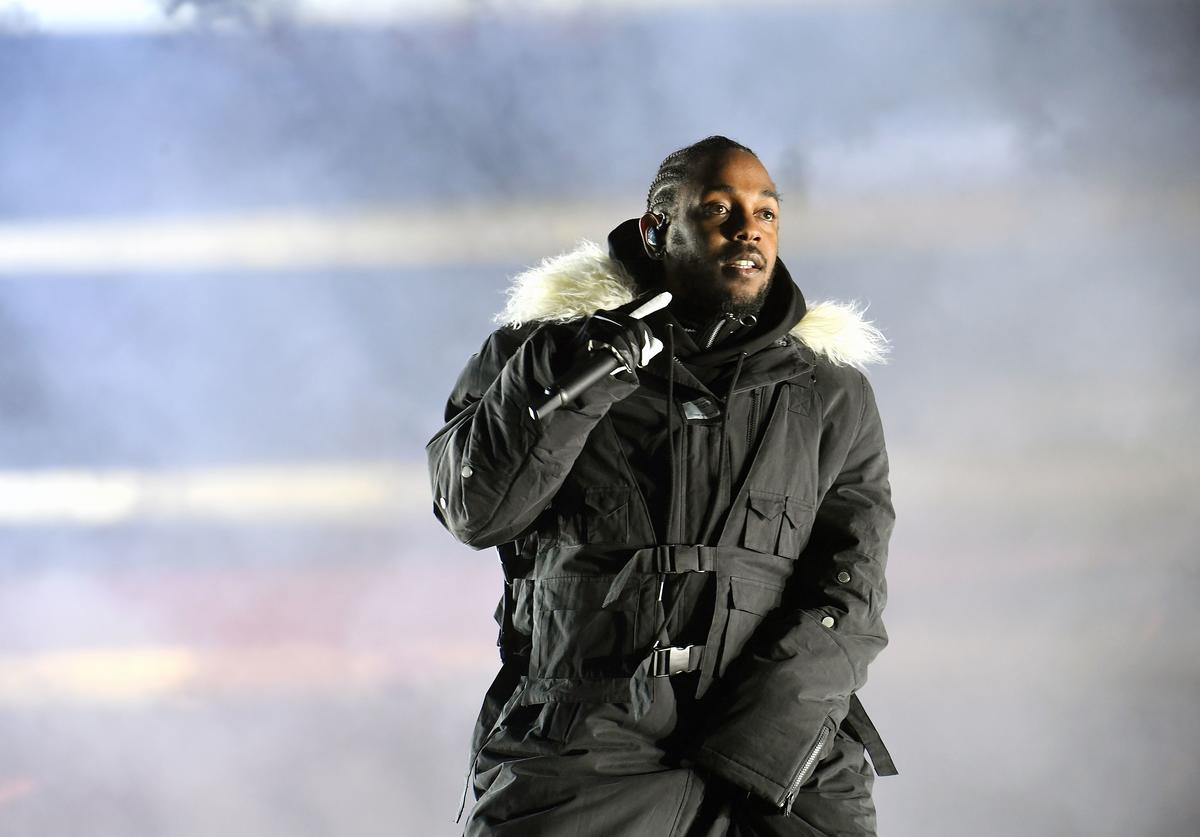 Rapper Kendrick Lamar performs during half time during 2018 College Football Playoff National Championship Game at Centennial Olympic Park on January 8, 2018 in Atlanta, Georgia.