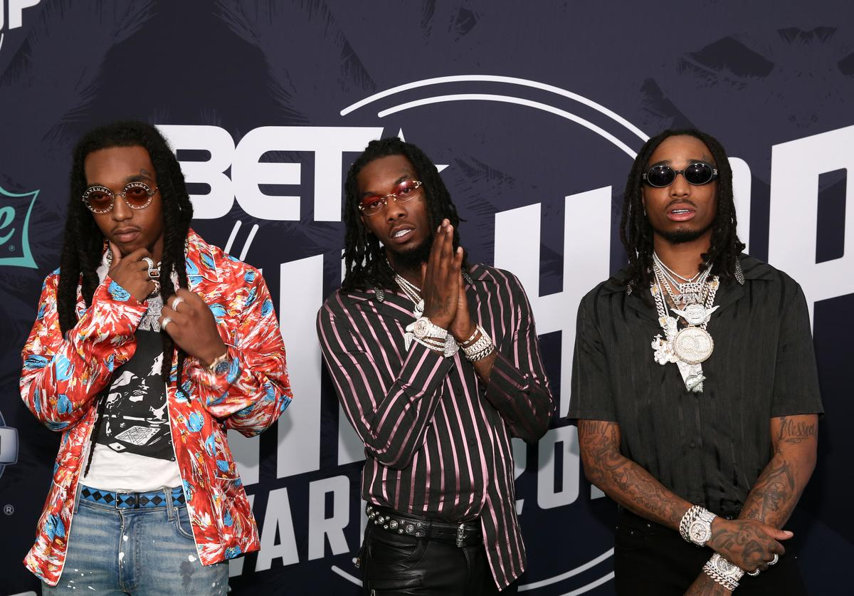 Rappers Takeoff, Offset, and Quavo of Migos attend the BET Hip Hop Awards 2017 at The Fillmore Miami Beach at the Jackie Gleason Theater on October 6, 2017 in Miami Beach, Florida