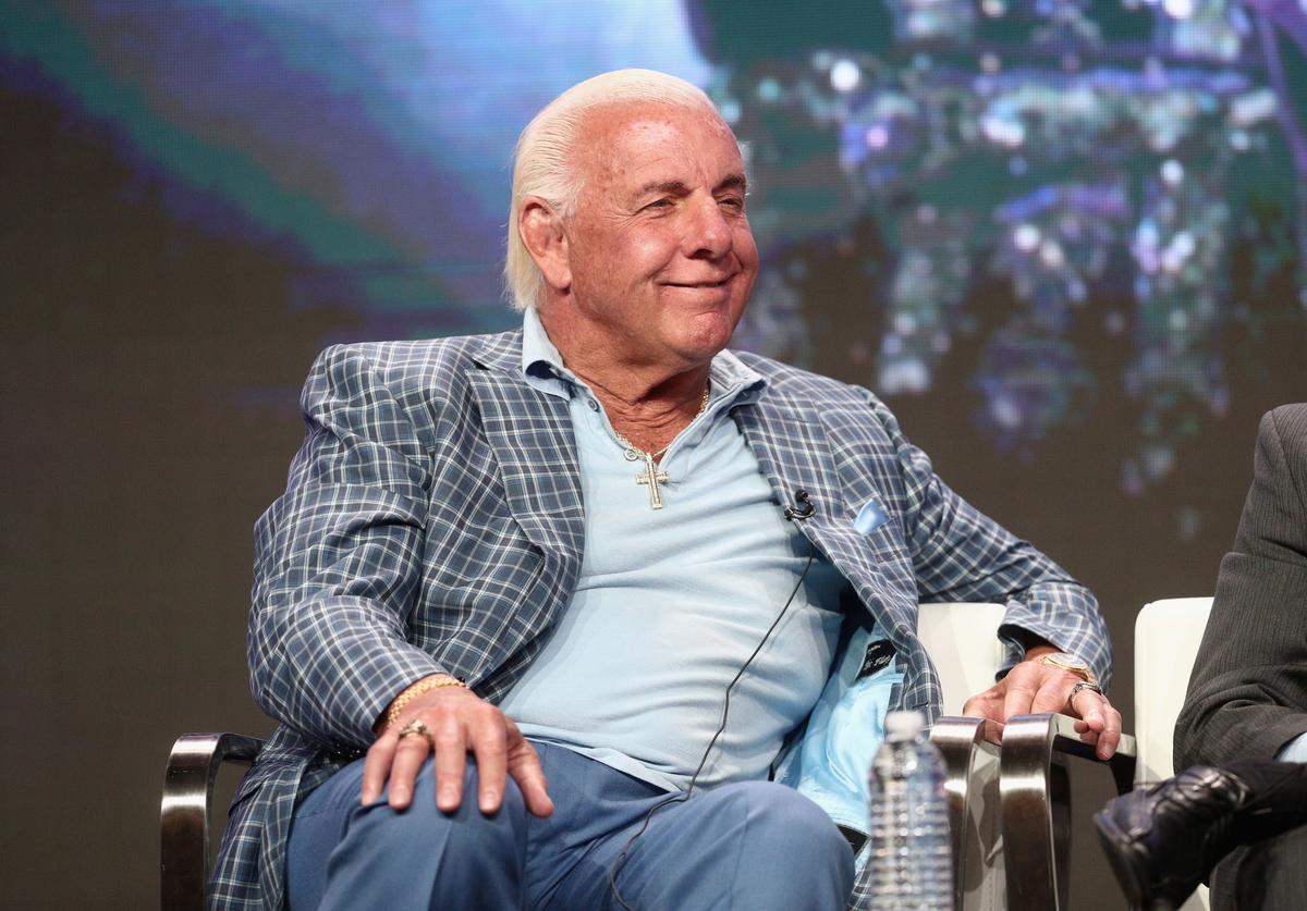 Ric Flair of 'ESPN's 30 for 30: 'Nature Boy'' speaks onstage during the ESPN portion of the 2017 Summer Television Critics Association Press Tour at The Beverly Hilton Hotel on July 26, 2017
