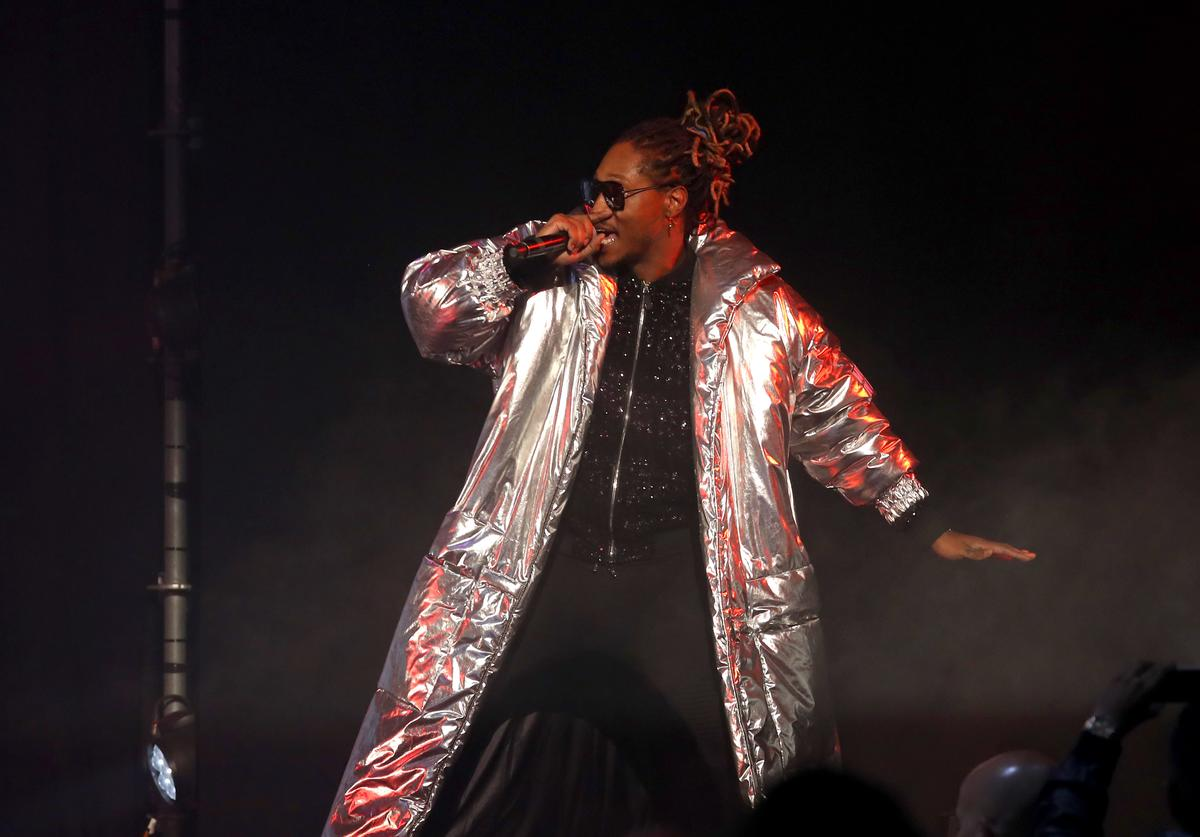 Future performing on stage at the Philipp Plein fashion show during New York Fashion Week: The Shows at Hammerstein Ballroom on September 9, 2017