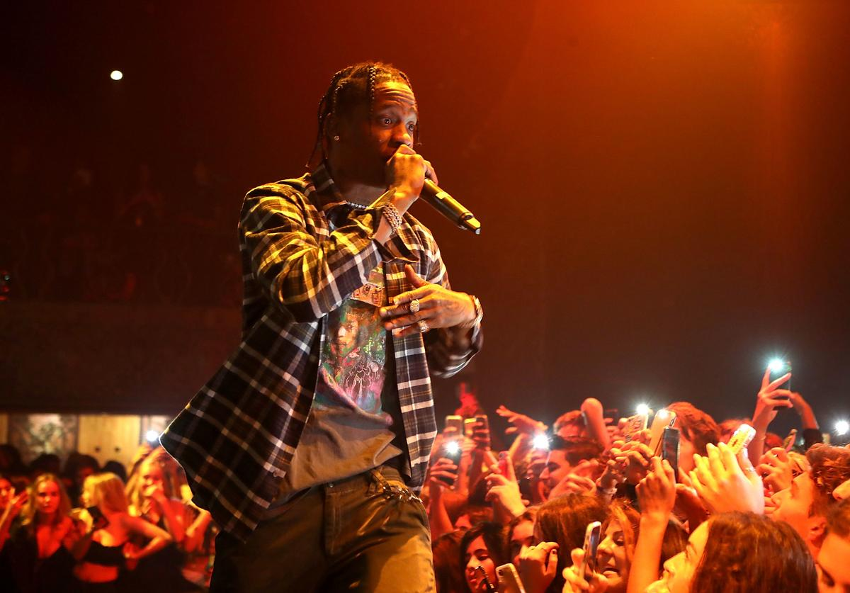 Travis Scott performs at Kailand's Swaggy 16th birthday party at Belasco Theatre on September 9, 2017 in Los Angeles, California