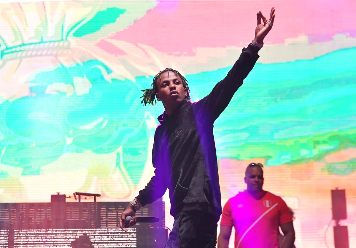 Rich the Kid performs onstage during adidas Creates 747 Warehouse St., an event in basketball culture, on February 16, 2018 in Los Angeles, California