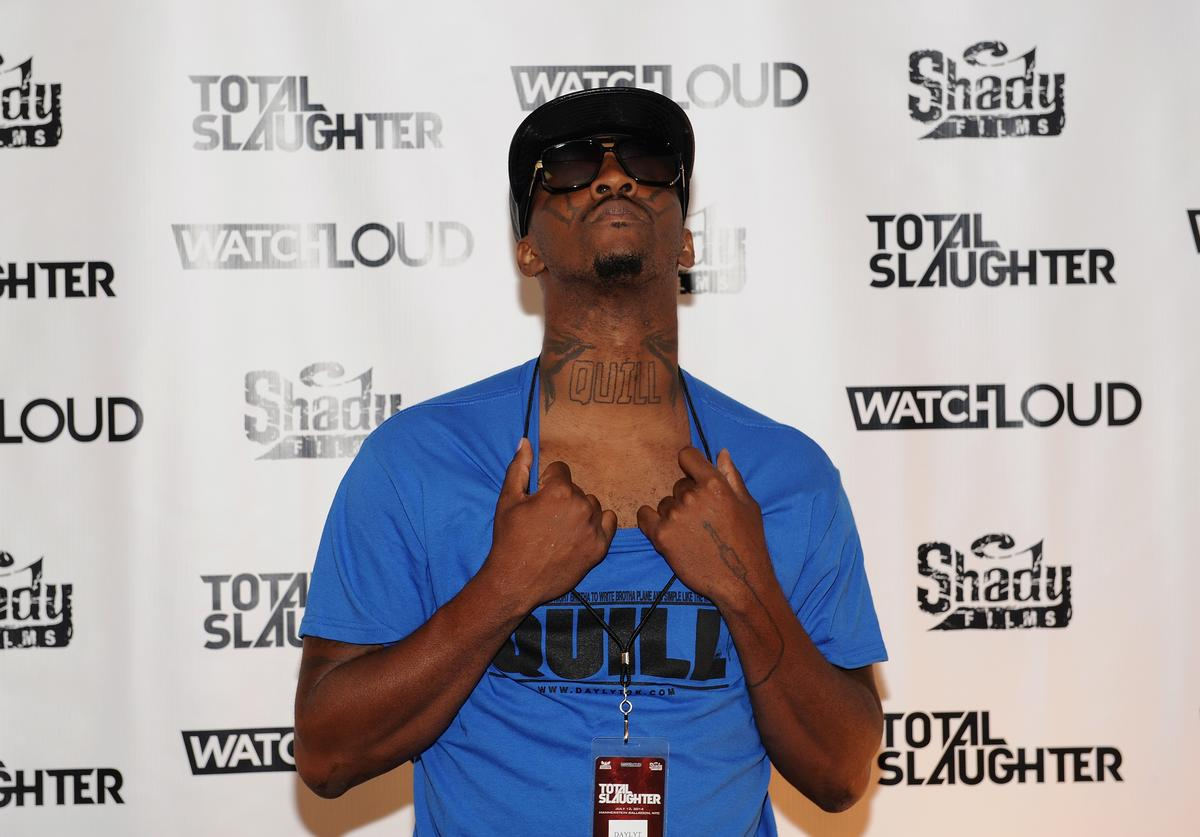 Daylyt arrives at Total Slaughter, hosted by Shady Films and WatchLOUD.com at Hammerstein Ballroom on July 12, 2014 in New York City