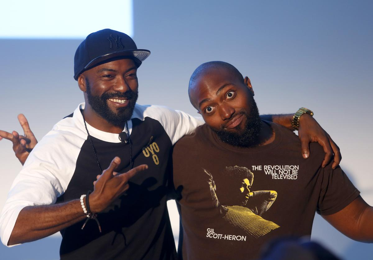 The Kid Mero and Desus Nice speak onstage during the Desus & Mero panel during the 2017 Vulture Festival at Milk Studios on May 20, 2017 in New York City